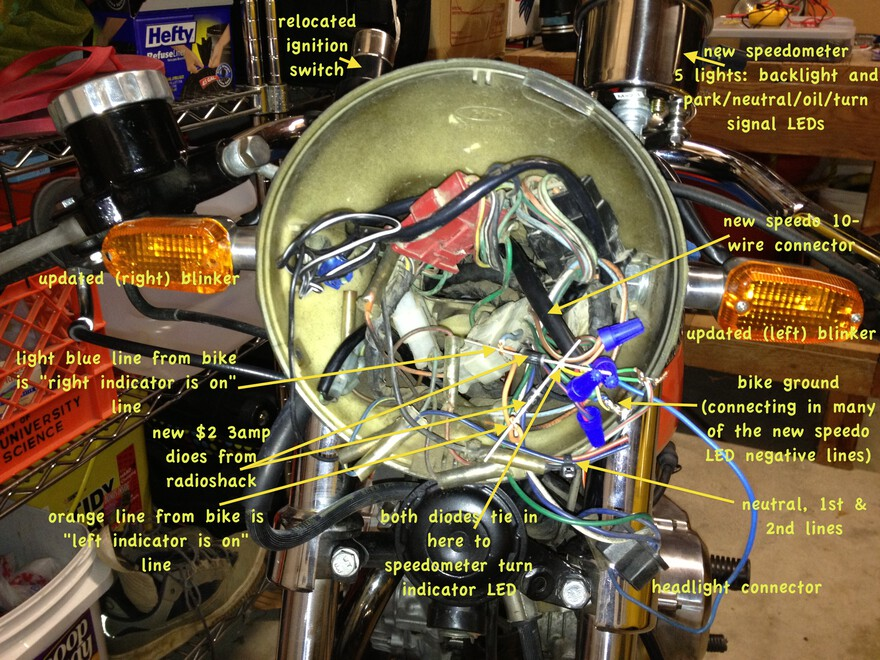 annotated picture of wiring behind headlight